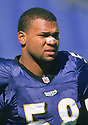 Baltimore Ravens Peter Boulware (21) during a game from his 1998 season with the Baltimore Ravens. Peter Boulware played for 8 years, all with the Ravens and was a 4-time Pro Bowler.<br /> (SportPics)