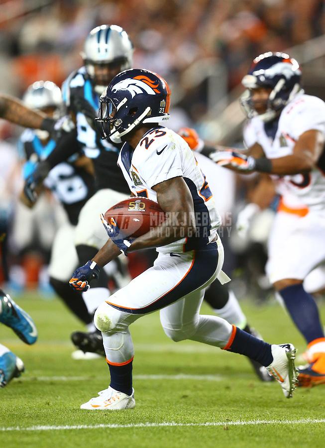Feb 7, 2016; Santa Clara, CA, USA; Denver Broncos running back Ronnie Hillman (23) against the Carolina Panthers in Super Bowl 50 at Levi's Stadium. Mandatory Credit: Mark J. Rebilas-USA TODAY Sports