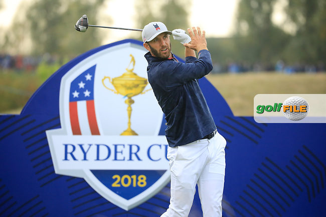 Dustin Johnson (Team USA) at the Ryder Cup, Le Golf National, Paris, France. 27/09/2018.<br /> Picture Phil Inglis / Golffile.ie<br /> <br /> All photo usage must carry mandatory copyright credit (© Golffile | Phil Inglis)