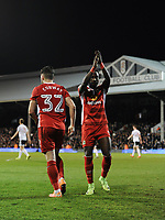 Blackburn Rovers' Craig Conway celebrates scoring his sides equalising goal with Marvin Emnes to make the score 1-1<br /> <br /> Photographer /Ashley WesternCameraSport<br /> <br /> The EFL Sky Bet Championship - Fulham v Blackburn Rovers - Tuesday 14th March 2017 - Craven Cottage - London<br /> <br /> World Copyright &copy; 2017 CameraSport. All rights reserved. 43 Linden Ave. Countesthorpe. Leicester. England. LE8 5PG - Tel: +44 (0) 116 277 4147 - admin@camerasport.com - www.camerasport.com