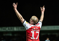 Fleetwood Town's Paddy Madden celebrates scoring his side's first goal <br /> <br /> Photographer Andrew Kearns/CameraSport<br /> <br /> The EFL Sky Bet League One - Wycombe Wanderers v Fleetwood Town - Tuesday 11th February 2020 - Adams Park - Wycombe<br /> <br /> World Copyright © 2020 CameraSport. All rights reserved. 43 Linden Ave. Countesthorpe. Leicester. England. LE8 5PG - Tel: +44 (0) 116 277 4147 - admin@camerasport.com - www.camerasport.com