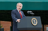 United States President George W. Bush makes remarks as he participates in an Armed Forces Change of Command ceremony and official Hail and Farewell tribute in honor for out-going Chairman of the Joint Chiefs of Staff. US Marine Corps General Peter Pace and in-coming Chairman of the Joint Chiefs of Staff US Navy Admiral Michael Mullen at Fort Myer, Virginia on October 1, 2007.<br /> Credit: Aude Guerrucci / Pool via CNP