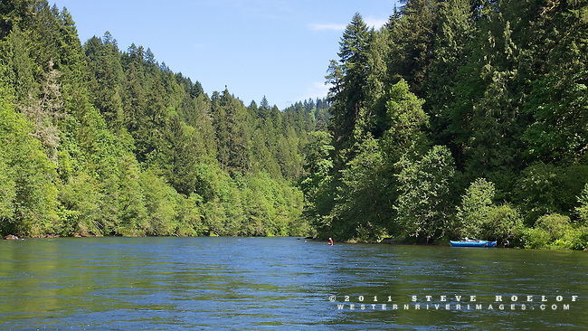 A fly fisherman fishes the beautiful Sandy River, Oregon.