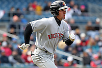 Rochester Red Wings outfielder Matt Carson #7 during the opening game of the International League season against the Rochester Red Wings at Alliance Bank Stadium on April 5, 2012 in Syracuse, New York.  Rochester defeated Syracuse 7-4.  (Mike Janes/Four Seam Images)
