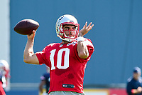 August 1, 2017: New England Patriots quarterback Jimmy Garoppolo (10) throws a pass at the New England Patriots training camp held at Gillette Stadium, in Foxborough, Massachusetts. Eric Canha/CSM