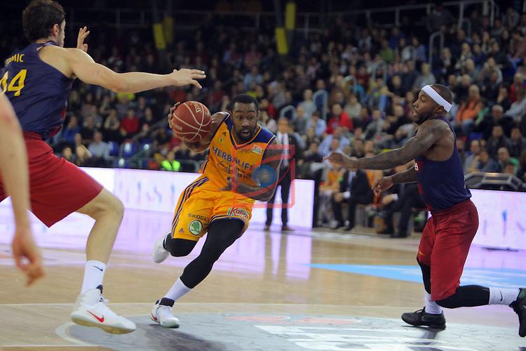 League ACB-ENDESA 2016/2017. Game: 11.<br /> FC Barcelona Lassa vs Herbalife Gran Canaria: 79-78.<br /> Bo McCalebb vs Tyrese Rice.