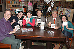 Musical director David Caldwell, Marcus Stevens, Jenny Lee Stern, Scott Richard Foster, Forbidden Broadway creator, writer/director Gerard Alessandrini & Natalie Charlé Ellis attending the 'Forbidden Broadway: Alive & Kicking' Original Cast CD vol. 11  signing & performance at the Drama Book Shop in New York on December 11, 2012