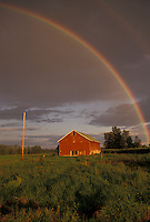 AJ4371, rainbow, Upstate, barn, New York, Rainbow over a red barn after a thunderstorm in Oneida County in the state of New York.