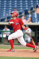 Clearwater Threshers catcher Gabriel Lino (40) at bat during a game against the Tampa Yankees on June 26, 2014 at Bright House Field in Clearwater, Florida.  Clearwater defeated Tampa 4-3.  (Mike Janes/Four Seam Images)