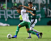 PALMIRA - COLOMBIA, 26-05-2019: Christian Rivera del Cali disputa el balón con Sebastian Gomez de Nacional durante partido entre Deportivo Cali y Atlético Nacional por la fecha 4, cuadrangulares semifinales, de la Liga Águila I 2019 jugado en el estadio Deportivo Cali de la ciudad de Palmira. / Christian Rivera of Cali vies for the ball with Sebastian Gomez of Nacional during match between Deportivo Cali and Atletico Nacional for the date 4, semifinal quadrangulars, as part Aguila League I 2019 played at Deportivo Cali stadium in Palmira city.  Photo: VizzorImage / Nelson Rios / Cont
