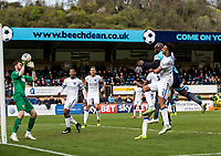 Adebayo Akinfenwa of Wycombe Wanderers see's his header saved by Jake Kean goalkeeper of Mansfield Town during the Sky Bet League 2 match between Wycombe Wanderers and Mansfield Town at Adams Park, High Wycombe, England on the 14th April 2017. Photo by Liam McAvoy.