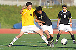 Torrance, CA 01/24/12 - Erik Le (Peninsula #10) and unidentified West Torrance player(s) in action during the Peninsula vs West Torrance CIF Bay league game.