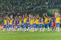 BELO HORIZONTE, MG, 26 JUNHO 2013 - COPA DAS CONFEDERACOES -  BRASIL X URUGUAI -  jogadores da Seleção Brasileira comemoram vitória da partida contra o Uruguai, jogo válido pelas Semi-finais da competição, no Estadio Mineirao em Belo Horizonte, Minas Gerais nesta Quarta, 26 (FOTO: NEREU JR / BRAZIL PHOTO PRESS).