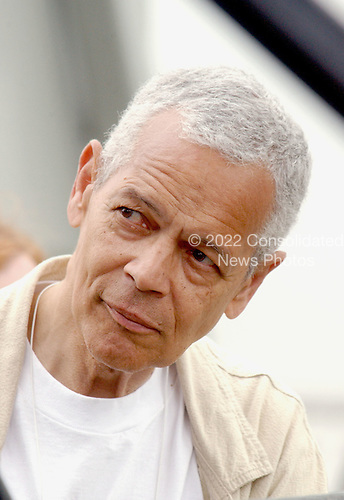 "Civil Rights Activist Julian Bond watches the speakers from back stage at the ""March for Women's Lives"" in Washington, DC on April 25, 2004..Credit: Ron Sachs / CNP"