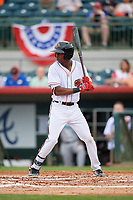 Florida Fire Frogs designated hitter Justin Ellison (16) at bat during a game against the Daytona Tortugas on April 7, 2018 at Osceola County Stadium in Kissimmee, Florida.  Daytona defeated Florida 4-3.  (Mike Janes/Four Seam Images)