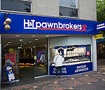Pawnbrokers shop in central business district of Swindon, England