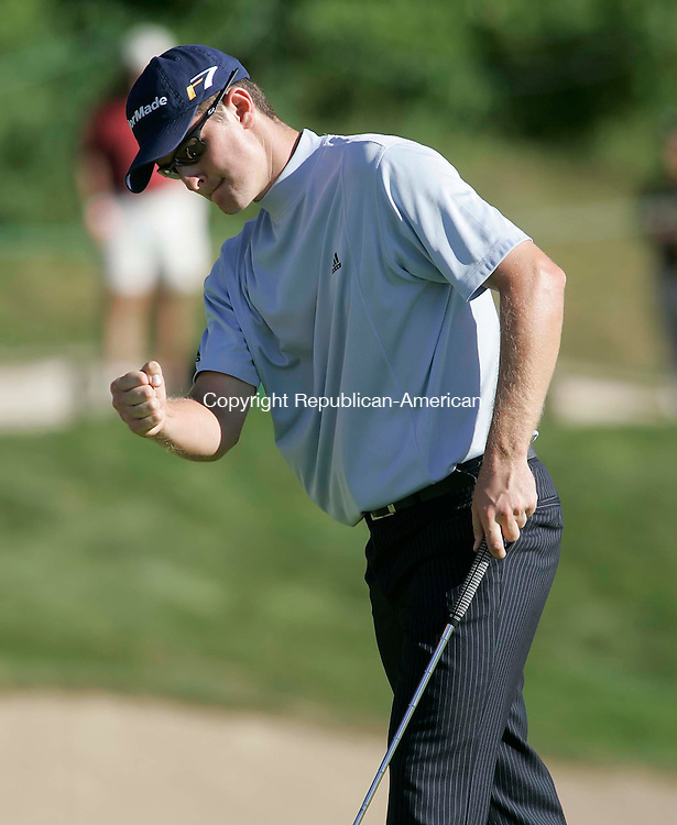 CROMWELL, CT 27 AUGUST 2005 082705BZ18-   Justin Rose pumps his fist after saving par on #15<br /> during the third round of the Buick Championship at the TPC at River Highlands Saturday.<br /> Jamison C. Bazinet / Republican-American