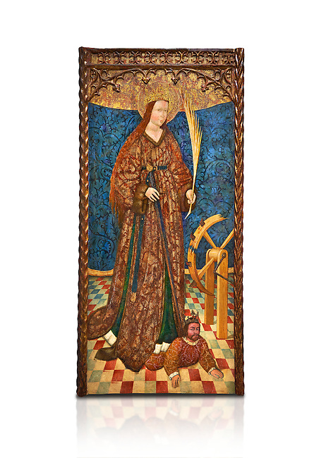 Gothic altarpiece of Saint Catarina (Catherine), 3rd quarter of the 15th century, tempera and gold leaf on for wood.  National Museum of Catalan Art, Barcelona, Spain, inv no: MNAC   114746-7. Against a white background.
