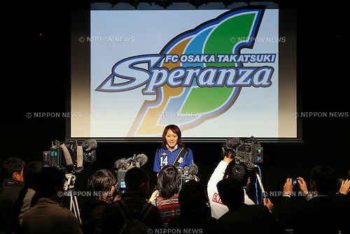Karina Maruyama (Speranza), .FEBRUARY 16, 2012 - Football / Soccer : Speranza FC Osaka Takatsuki Press conference at NMB48 Theater in Osaka, Japan. Japanese ladies soccer team Speranza FC Osaka Takatsuki hold a joint press conference with members of NMB48, the Osaka version of the popular AKB48 idol group. Both women's soccer and girls idol groups are hugely popular in Japan after the national team's success at the Womens Soccer World Cup and the growing success of AKB48.