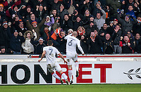 Scott Cuthbert of Luton Town celebrates his goal during the Sky Bet League 2 match between Wycombe Wanderers and Luton Town at Adams Park, High Wycombe, England on the 21st January 2017. Photo by Liam McAvoy.