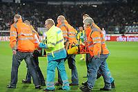 VOETBAL: HEERENVEEN: Abe Lenstra Stadion, 15-09-2012, SC Heerenveen - ADO Den Haag, Eindstand 1-3, Als gevolg van een botsing tussen Rajiv van La Parra (#7 | SCH) en Christian Supusepa (#5 | ADO) liep de laatste een nekblessure op, ©foto Martin de Jong
