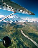 USA, Alaska, flying over Denali National Park with mount McKinley in background, Camp Denali