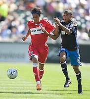 Calen Carr, left, and James Riley, right, battle for the ball, .Chicago Fire 1, San Jose Earthquakes 0, Saturday, April 12, 2008 at the Oakland Coliseum, Oakland, California.