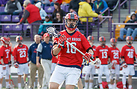 UAlbany Men's Lacrosse defeats Stony Brook on March 31 at Casey Stadium.  Owen Daly (#16).