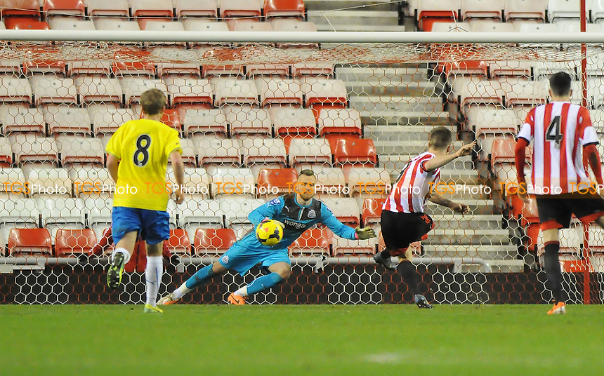 Jordan Laidler of Sunderland scores the opening goal of the game from the penalty spot - Sunderland Under-21 vs Newcastle United Under-21 - Barclays Under-21 Premier League Football at the Stadium of Light, Sunderland - 03/02/14 - MANDATORY CREDIT: Steven White/TGSPHOTO - Self billing applies where appropriate - 0845 094 6026 - contact@tgsphoto.co.uk - NO UNPAID USE