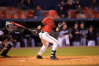 Ball State Cardinals designated hitter Scott Tyler (7) at bat during a game against the Wisconsin-Milwaukee Panthers on February 26, 2016 at Chain of Lakes Stadium in Winter Haven, Florida.  Ball State defeated Wisconsin-Milwaukee 11-5.  (Mike Janes/Four Seam Images)