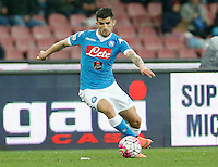 Elseid Hysaj  during the  italian serie a soccer match,between SSC Napoli and Chievo Verona      at  the San  Paolo   stadium in Naples  Italy , March 06, 2016