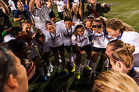 Portland Thorns players including midfielder Tobin Heath (17) celebrate after the match. The Portland Thorns defeated the Western New York Flash 2-0 during the National Women's Soccer League (NWSL) finals at Sahlen's Stadium in Rochester, NY, on August 31, 2013.