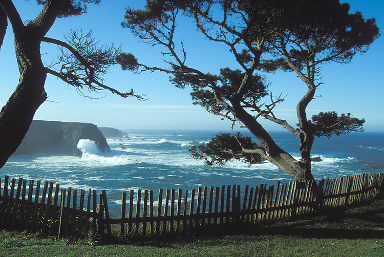 Looking at the Mendocino Headlands and the Pacific Ocean, Mendocino California