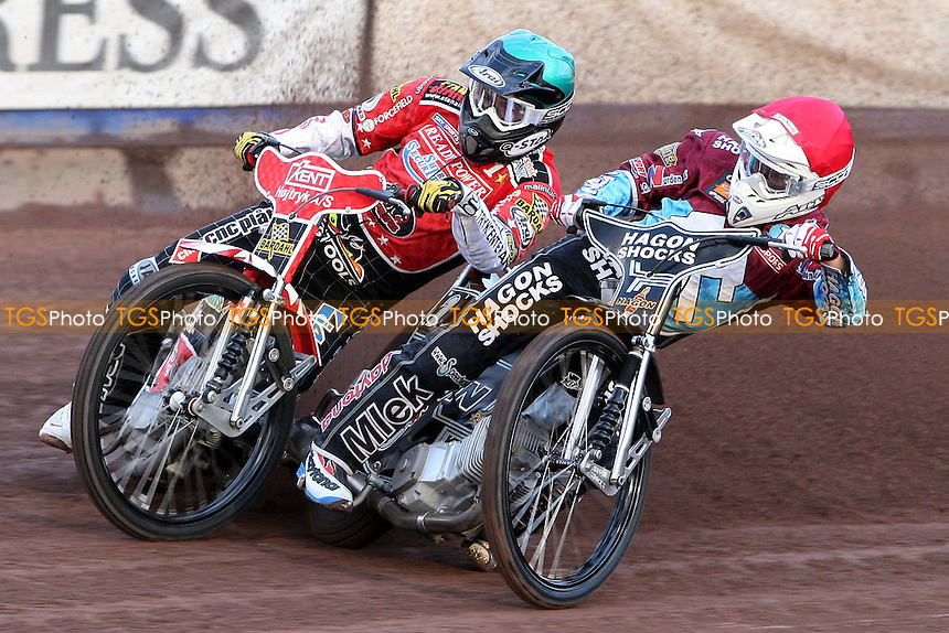 Heat1: Lee Richardson (red) and Niels-Kristian Iversen (green) - Lakeside Hammers vs Peterborough Panthers, Elite League Speedway at the Arena Essex Raceway, Purfleet - 19/06/09 - MANDATORY CREDIT: Rob Newell/TGSPHOTO - Self billing applies where appropriate - 0845 094 6026 - contact@tgsphoto.co.uk - NO UNPAID USE.