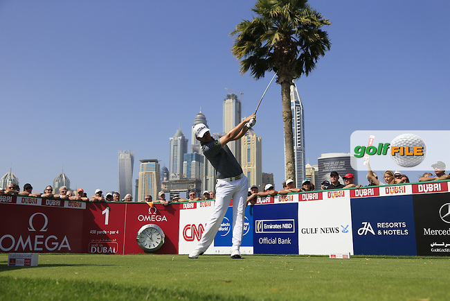 Bernd WIESBERGER (AUT) tees off the 1st tee during Sunday's Final Round of the 2015 Omega Dubai Desert Classic held at the Emirates Golf Club, Dubai, UAE.: Picture Fran Caffrey, www.golffile.ie: 2/1/2015