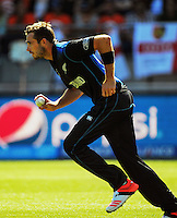 Tim Southee bowls during the ICC Cricket World Cup one day pool match between the New Zealand Black Caps and England at Wellington Regional Stadium, Wellington, New Zealand on Friday, 20 February 2015. Photo: Dave Lintott / lintottphoto.co.nz