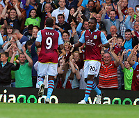 Saturday 15 September 2012<br /> Pictured: Aston Villa goalscorer Christian Benteke (R) celebrating with team mate Darren Bent (L).<br /> Re: Barclay's Premier League, Aston Villa v Swansea City FC at Villa Park, West Midlands, UK.