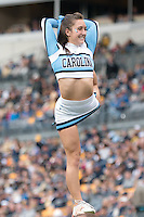 North Carolina cheerleader. The North Carolina Tar Heels defeated the Pitt Panthers 34-27 at Heinz Field, Pittsburgh Pennsylvania on November 16, 2013.