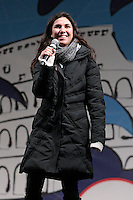 Giulia Sarti.Roma 22/02/2013 Piazza San Giovanni. Tappa conclusiva dello Tsunami Tour e chiusura della campagna elettorale del Movimento 5 stelle..Elections 2013, Closing of the campaign of ' Movment 5 stars' .Photo Samantha Zucchi Insidefoto