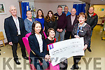 University Hospital Kerry, Oncology Day care Unit, Loher Ward was Present with a Cheque for €20,000 for chemo chairs for cancer patients on Friday. Picture front l-r Theresa Walsh, Mary Lynch, Mary Fitzgerald. Back l-r John Lynch, Eileen O'Connor, Eileen Whelan, Sandra Finn, Mike Keane, Willy Kelly, Thomas O'Connell, Gerry Moloney