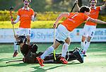 BLOEMENDAAL  - Daan van Os (Bl'daal) heeft gescoord,  , competitiewedstrijd junioren  landelijk  Bloemendaal JA1-Nijmegen JA1 (2-2) . COPYRIGHT KOEN SUYK