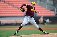 Arizona State Sun Devils starting pitcher Adam McCreery #51 delivers a pitch during a game against  the Tennessee Volunteers at Lindsey Nelson Stadium on February 23, 2013 in Knoxville, Tennessee. The Volunteers won 11-2.(Tony Farlow/Four Seam Images).