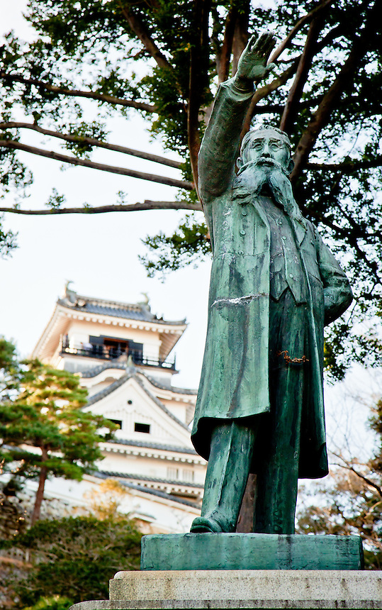 "Statue of famous Japanese 19thCentury Popular Rights Movement politician Itagaki Taisuke - his famous words ""Itagaki may die, but liberty never!"" stands in site of Kochi castle."