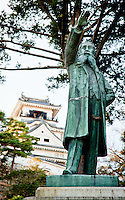 """Statue of famous Japanese 19thCentury Popular Rights Movement politician Itagaki Taisuke - his famous words """"Itagaki may die, but liberty never!"""" stands in site of Kochi castle."""