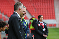 Manager of Doncaster Rovers Darren Ferguson and Manager of Wycombe Wanderers Gareth Ainsworth ahead of the Sky Bet League 2 match between Doncaster Rovers and Wycombe Wanderers at the Keepmoat Stadium, Doncaster, England on 29 October 2016. Photo by David Horn.