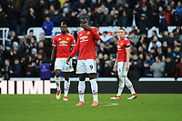 A dejected Romelu Lukaku of Manchester United and Paul Pogba of Manchester United during Newcastle United vs Manchester United, Premier League Football at St. James' Park on 11th February 2018