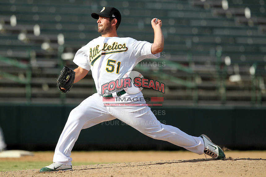 Phoenix Desert Dogs pitcher Anthony Capra #51 during an Arizona Fall League game against the Salt River Rafters at Phoenix Municipal Stadium on November 1, 2011 in Phoenix, Arizona.  Salt River defeated Phoenix 10-7.  (Mike Janes/Four Seam Images)
