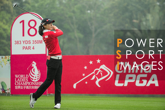 Jung Min Lee of South Korea tees off at the 18th hole during Round 4 of the World Ladies Championship 2016 on 13 March 2016 at Mission Hills Olazabal Golf Course in Dongguan, China. Photo by Victor Fraile / Power Sport Images
