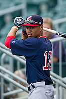 Mookie Betts (12) of the Pawtucket Red Sox takes some swings prior to the game against the Charlotte Knights at BB&T Ballpark on August 8, 2014 in Charlotte, North Carolina.  The Red Sox defeated the Knights  11-8.  (Brian Westerholt/Four Seam Images)