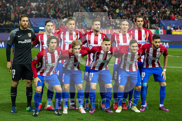 Atletico de Madrid's Jan Oblak, Diego Godin, Filipe Luis, Tiago Mendes Koke Resurrecccion, Antoine Griezmann, Yannick Ferreira Carrasco, Gabi Fernandez, Vrsaljko, Kevin Gameiro, Jose Maria Gimenez during the Champions League match between Atletico de Madrid and PSV Eindhoven at Vicente Calderon Stadium in Madrid , Spain. November 23, 2016. (ALTERPHOTOS/Rodrigo Jimenez)